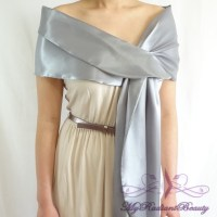 Bridal Silk Satin Wrap, Grey Silk Satin Bridal Shawl, Grey ...